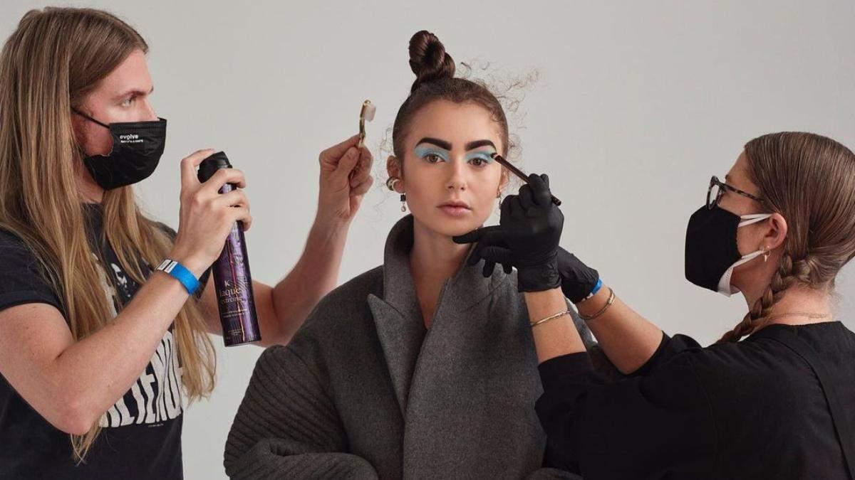 Монохромный макияж: идея от Лили Коллинз, который она использовала для MTV Movie & TV Awards