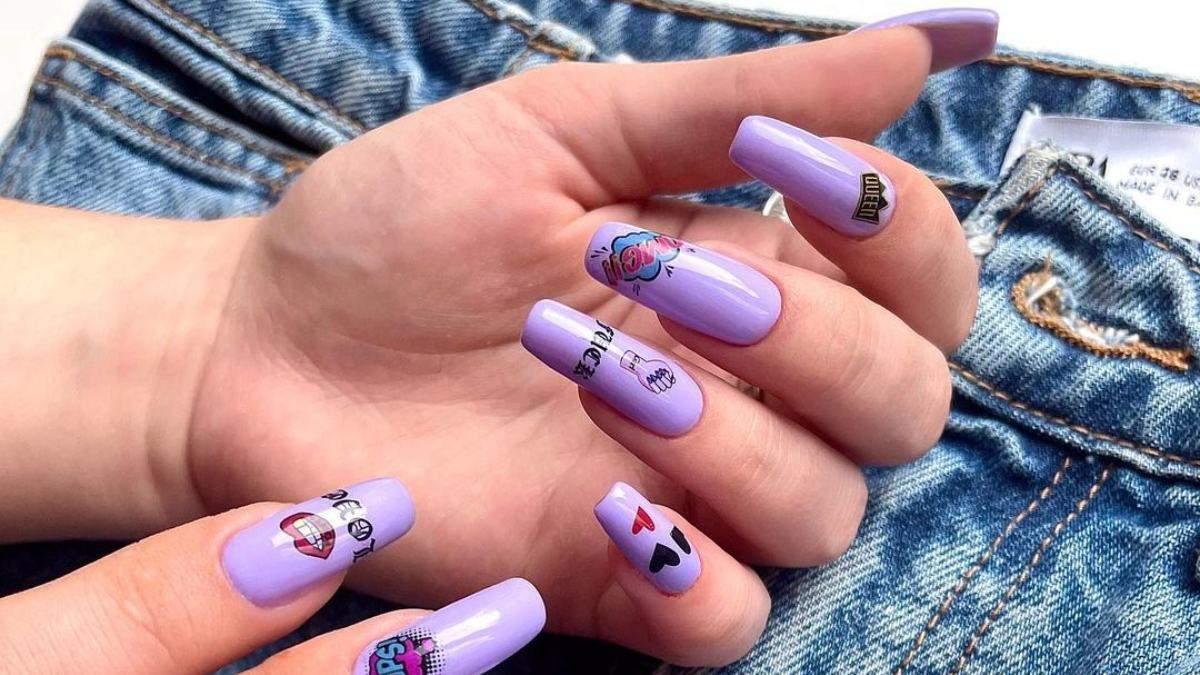 Лаванда, глэм-рок: модные оттенки фиолетового для маникюра